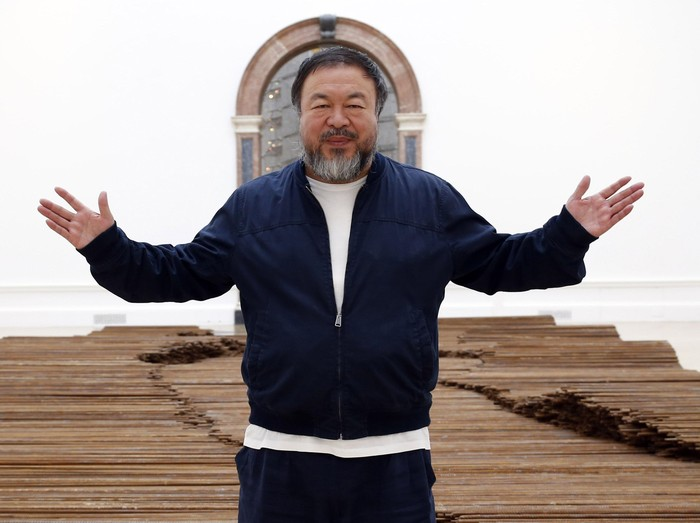 LONDON, UNITED KINGDOM - SEPTEMBER 15:  Ai Weiwei stands with his sculpture Straight as he previews works from His landmark art exhibition on September 15, 2015 in London, England. The Royal Academy of Art is showing the work of one of Chinas leading contemporary artists until mid-December. Ai Weiweis activism in China saw him detained without charge in 2011 for 81 days. (Photo by Alex B. Huckle/Getty Images)