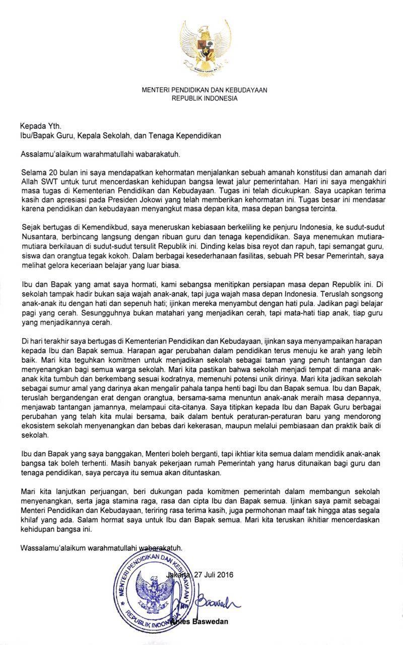 Surat Perpisahan Anies Baswedan Untuk Guru Indonesia