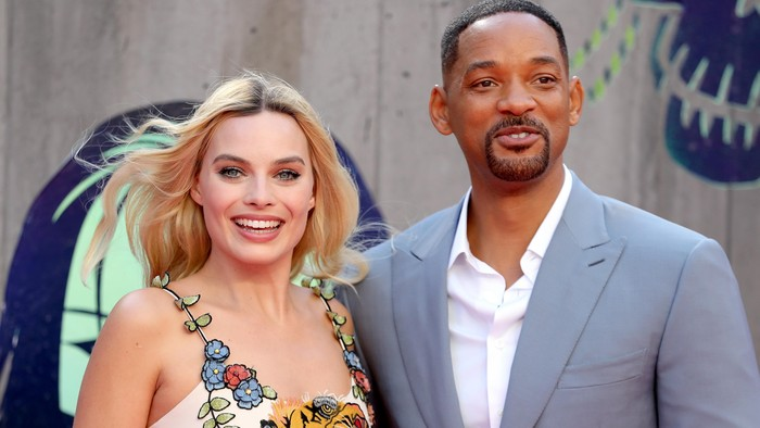 LONDON, ENGLAND - AUGUST 03:  Margot Robbie and Will Smith attend the European Premiere of Suicide Squad at the Odeon Leicester Square on August 3, 2016 in London, England.  (Photo by Chris Jackson/Getty Images)