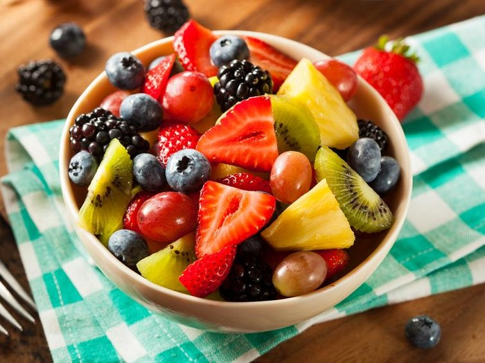 Heallthy Organic Fruit Salad with Berries Pineapple and Grapes