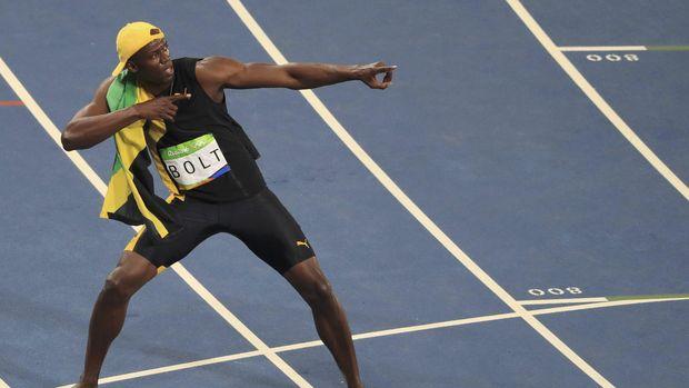 Usain Bolt ketika meraih emas lari 100 meter di Olimpiade 2016.