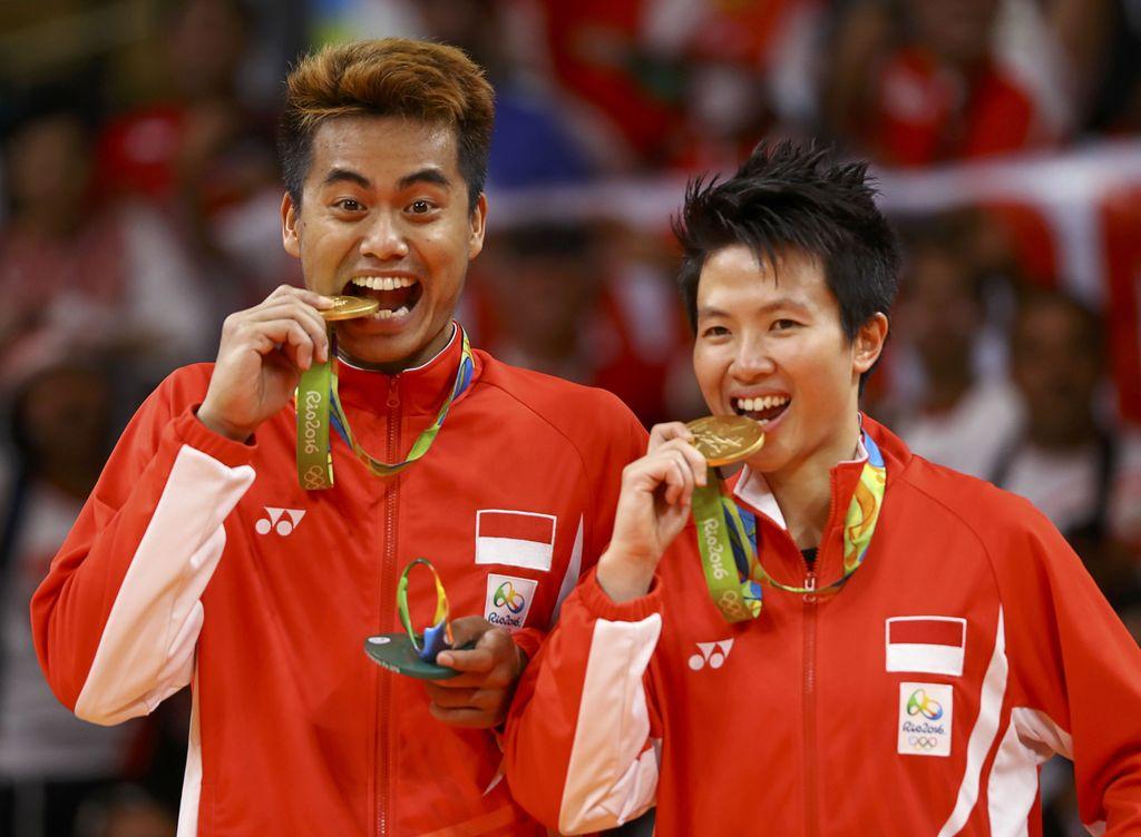 Tontowi Ahmad dan Liliyana Natsir saat meraih emas di Olimpiade 2016, Brasil