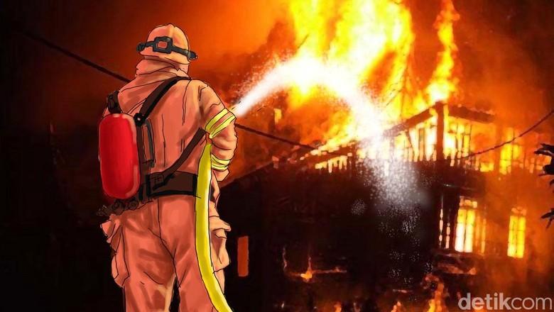 Rumah Terbakar di Depan Samsat Jakbar, 5 Mobil Pemadam Diterjunkan