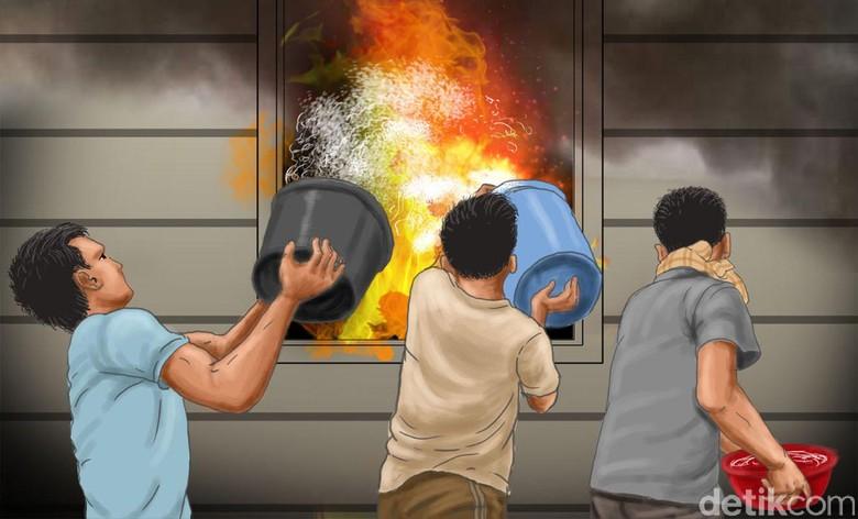 Kebakaran di Taman Kota, Lintas KRL Duri-Tangerang Terganggu