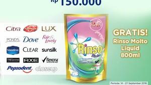 Gratis Rinso untuk Pembelian Produk Unilever di Transmart Carrefour