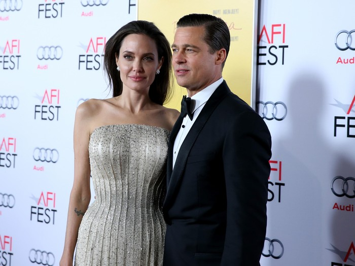 HOLLYWOOD, CA - NOVEMBER 05:  Writer-director-producer-actress Angelina Jolie Pitt (L) and actor-producer Brad Pitt attend Audi at the opening night gala premiere of By the Sea during AFI FEST 2015 presented by Audi at TCL Chinese 6 Theatres on November 5, 2015 in Hollywood, California  (Photo by Jonathan Leibson/Getty Images for Audi)
