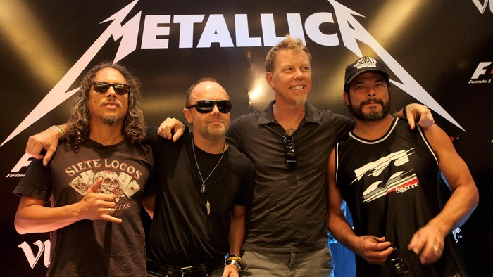 DELHI, INDIA - OCTOBER 28:  Kirk Hammett (L), Lars Ulrich (CL), James Hetfield (CR) and Robert Trujillo (R) from Metallica at the F1 Rocks India Metallica concert press conference on October 28, 2011 in Delhi, India.  (Photo by Andrew Caballero-Reynolds/Getty Images for F1 Rocks in India with Vladivar)