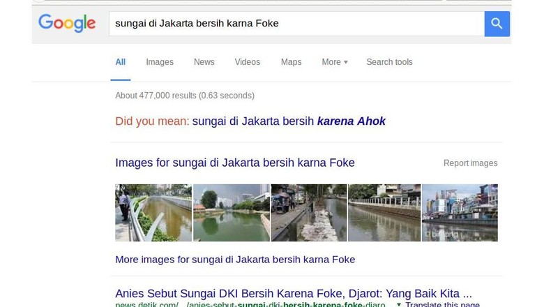 Ahok: Coba Ketik di Google Sungai Bersih Karena Foke dan Lihat Hasilnya