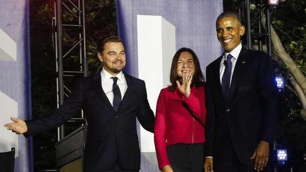 Aksi Leonardo DiCaprio di Depan Barack Obama