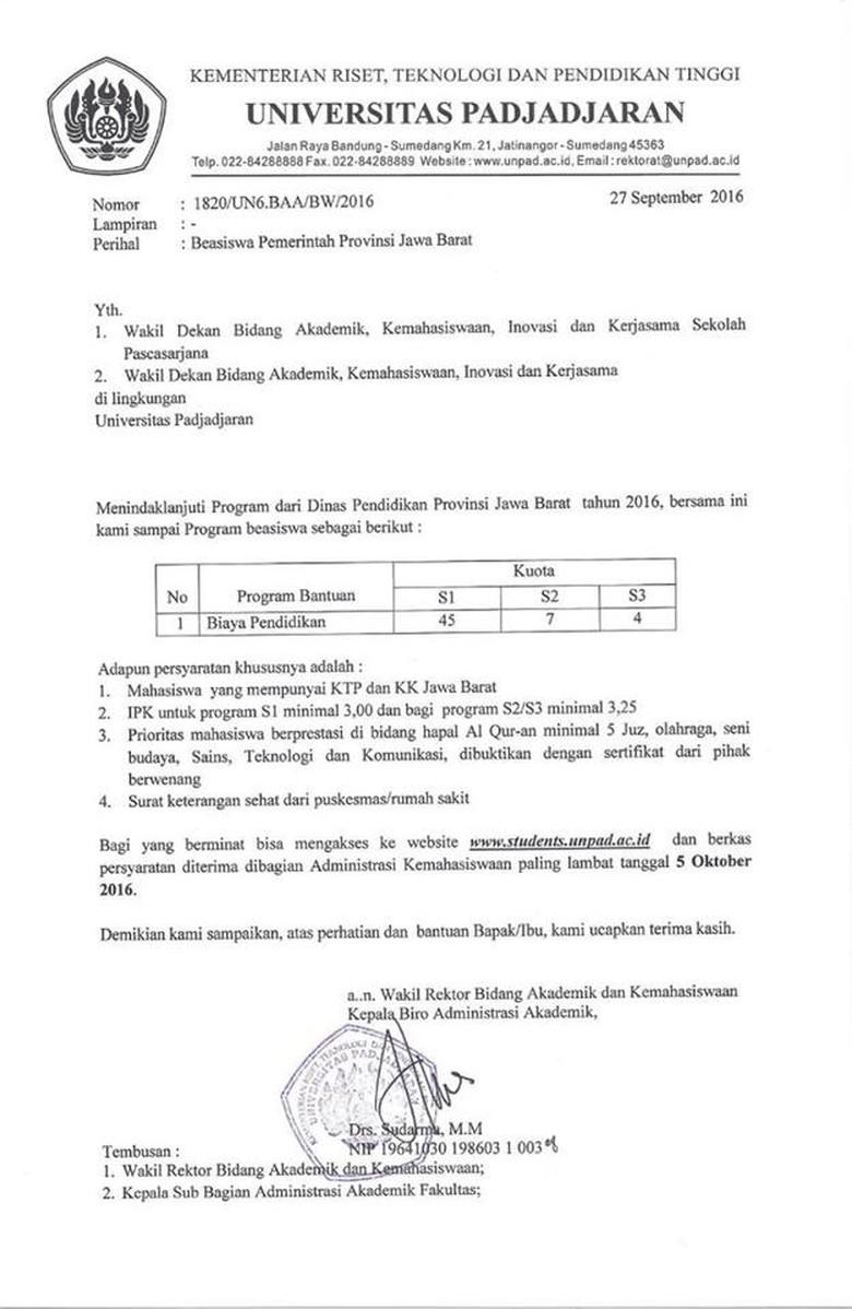 Penerima Beasiswa Hafidz 5 Juz Alquran Di Unpad Masih Sedikit