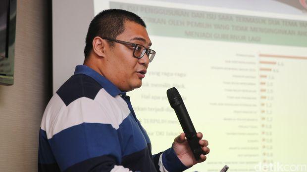 Direktur Eksekutif lembaga survei Median, Rico Marbun.