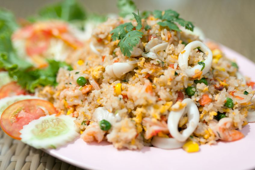 Fried rice with seafood , thai food style. - (Selective focus)