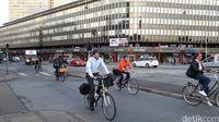 Warga Kopenhagen yang gowes sepeda sebagai transportasi sehari-hari (Erwin Dariyanto/detikcom)