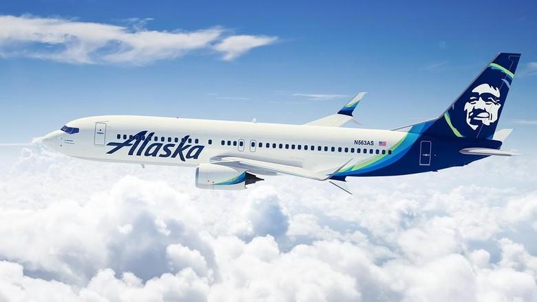 Ilustrasi pesawat maskapai Alaska Airlines