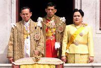 Raja Bhumibol, Ratu Sirikit, dan Putra Mahkota Vajiralongkorn
