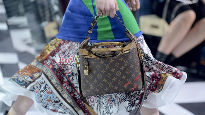 PARIS, FRANCE - MARCH 09:  A model, detail, walks the runway during the Louis Vuitton show as part of the Paris Fashion Week Womenswear Fall/Winter 2016/2017  on March 9, 2016 in Paris, France.  (Photo by Pascal Le Segretain/Getty Images)