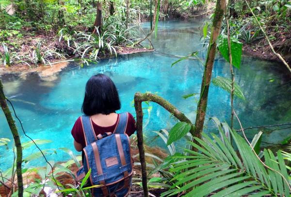 Kalibiru ini letaknya berada di dalam kawasan Teluk Mayalibit. Lihatlah airnya yang berwarna biru, sungguh indah bukan? (Wahyu Setyo Widodo/detikcom)