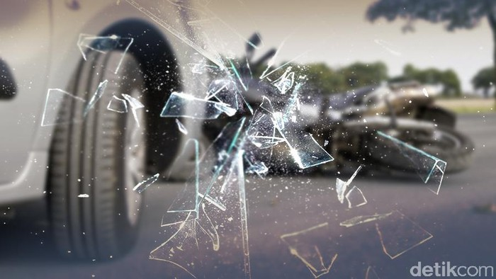 ilustrasi kecelakaan mobil dan truk, tabrakan
