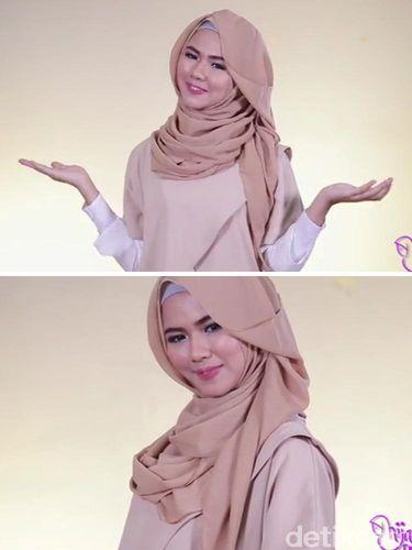 Tutorial Hijab dengan Aksen Poni Samping