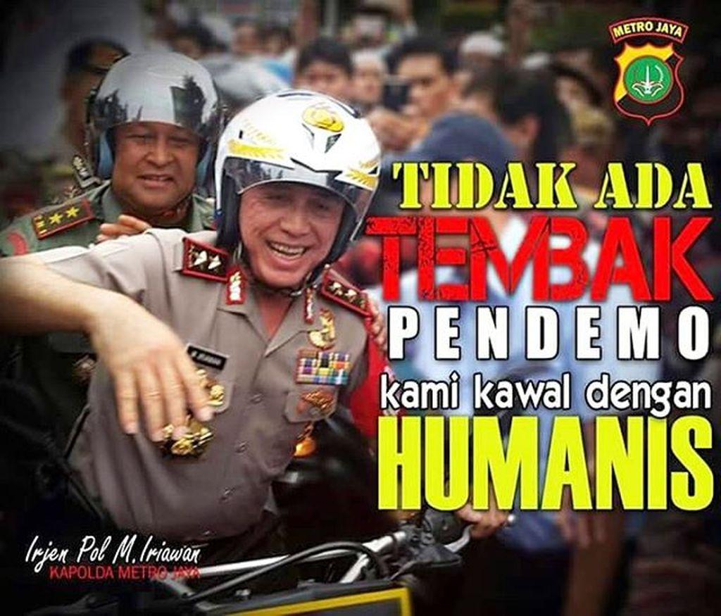 Kapolda Metro Jaya Irjen Pol M Irawan berpesan tidak ada tembak pendemi, pihaknya akan mengawal dengan humanis Foto: instragram/polisi_indonesia