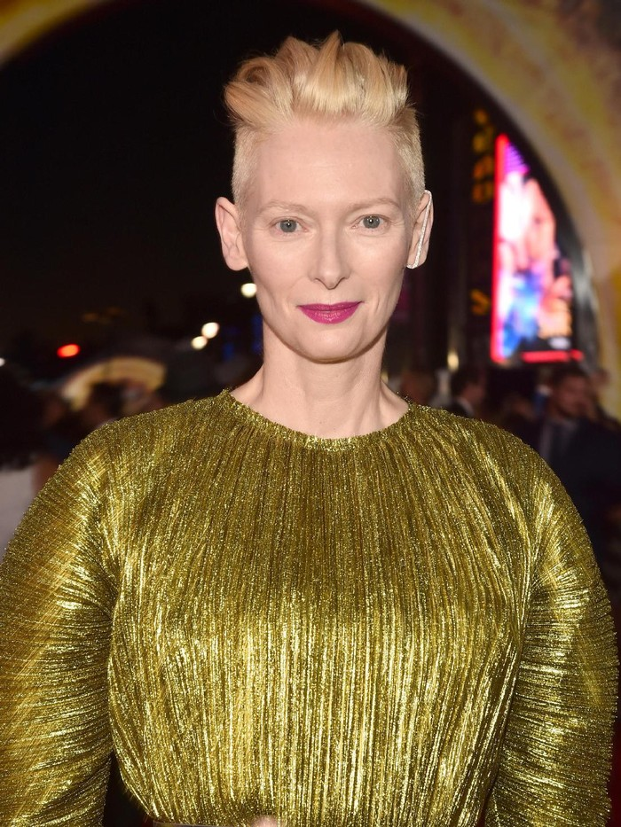 LONDON, ENGLAND - OCTOBER 24:  Tilda Swinton in front of the Doctor Strange inspired 3D Art at a fan screening, to celebrate the release of Marvel Studios Doctor Strange at the Odeon Leicester Square, on October 24, 2016 in London, United Kingdom.  (Photo by Jeff Spicer/Getty Images for Disney)