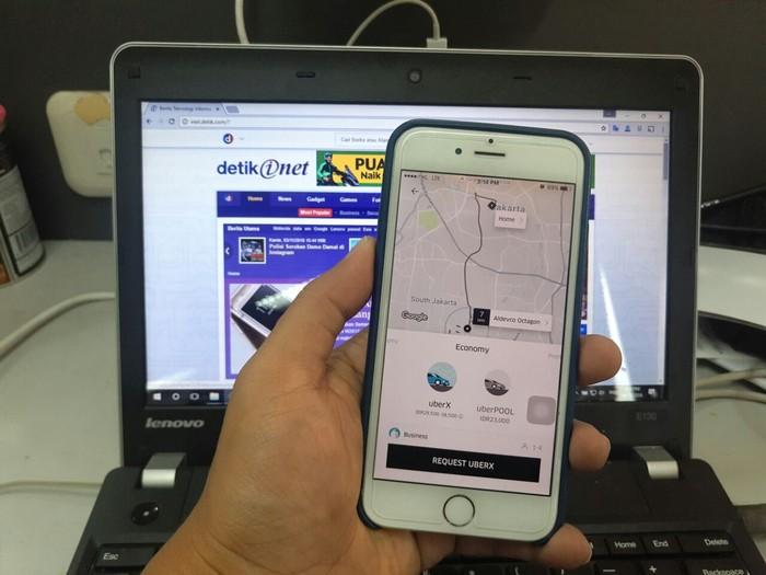 Ilustrasi aplikasi Uber (Foto: detikINET/Adi Fida Rahman)
