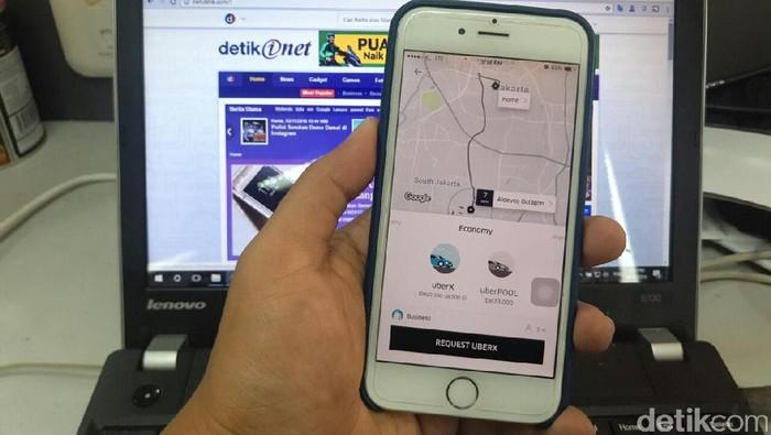 Aplikasi Uber. Foto: detikINET/afr