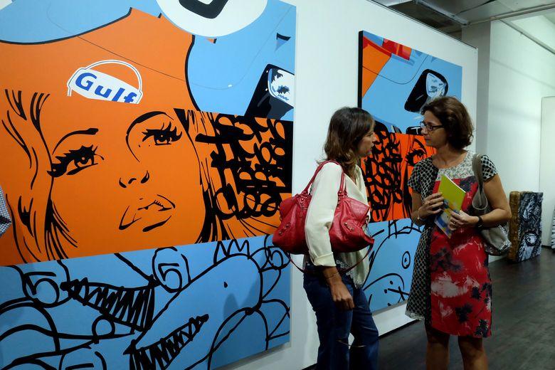 Lokasi dGallerie di dekat Taman Barito menjadi salah satu tempat pameran bagi ke-10 street artist dari dua negara.