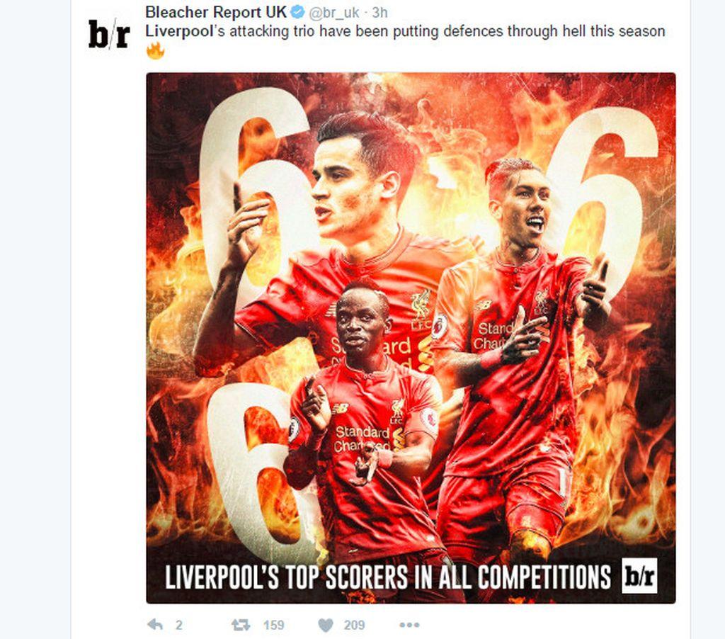 Lini depan Liverpool belakangan memang memiliki performa memukau. Foto: Netizen Liverpool