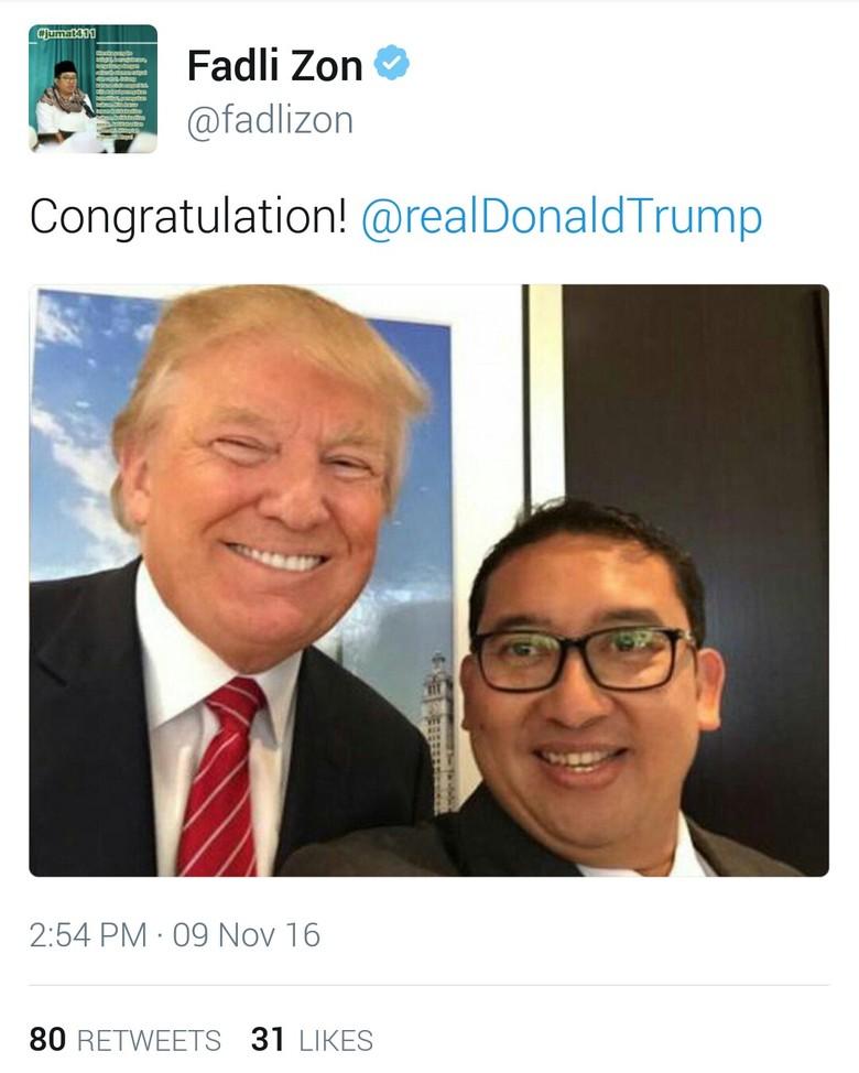 Fadli Zon Unggah Foto Selfie dengan Donald Trump: Congratulation!