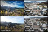 Penggunaan efek HDR pada foto landscape dan cityscape.