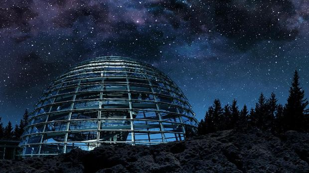 futuristic glass dome under the milky way