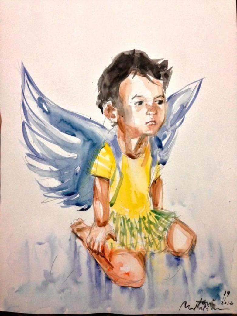 #RIPIntan, Lukisan Intan Olivia Korban Bom Samarinda Ini Viral di Medsos