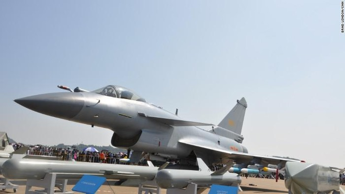 A Chinese Air Force J-10 fighter on display an Airshow China in Zhuhai November 2016. (Brad Lendon/CNN)