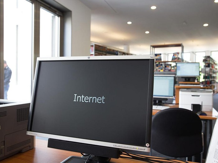 BERLIN, GERMANY - JUNE 09: A computer screen showes the word Internet in the library of the new Interior Ministry Headquarters seen on June 09, 2015 in Berlin, Germany. After 7 years of construction most staff of the Interior Ministry moved to the new Headquarters.