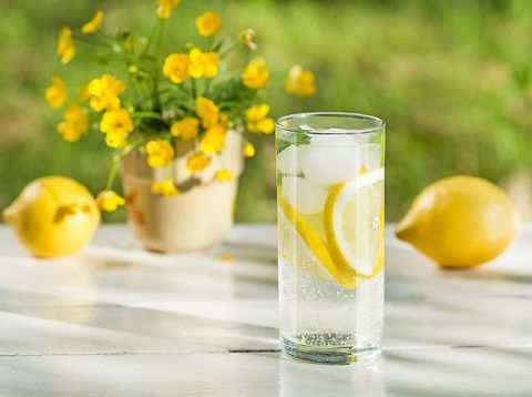 Lemon infused water with mint in glasses and jug.Healthy drink, detox, dieting beverage.