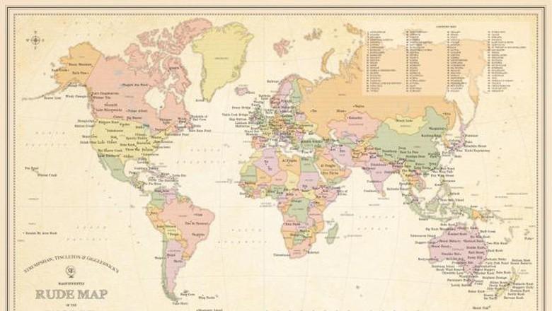 Peta dunia dengan nama nyeleneh