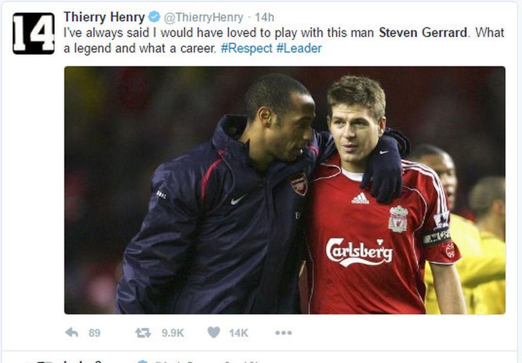 Thierry Henry ikut memberi penghormatan buat Stevie G. Foto: Istimewa