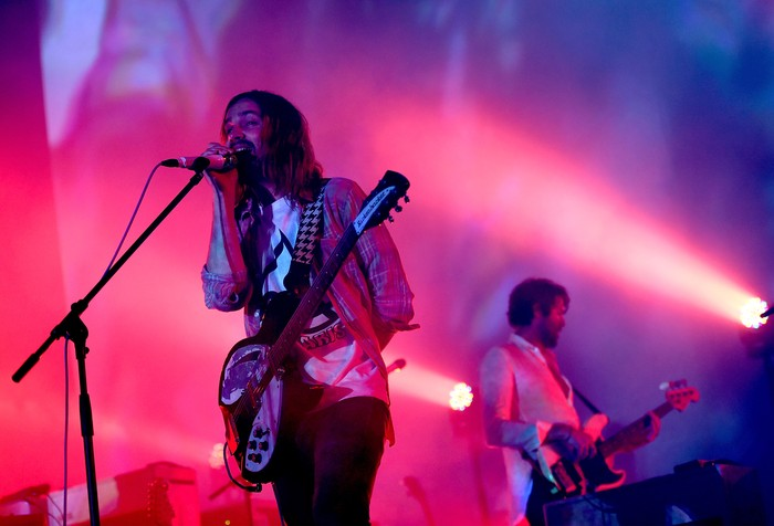 LOS ANGELES, CA - AUGUST 27:  Singer Kevin Parker (L) and musician Cam Avery of Tame Impala perform onstage during FYF Fest 2016 at Los Angeles Sports Arena on August 27, 2016 in Los Angeles, California.  (Photo by Kevin Winter/Getty Images for FYF)