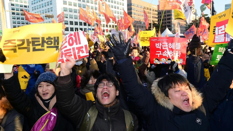 Rakyat Korsel Rayakan Pemakzulan Presiden Park Geun-hye