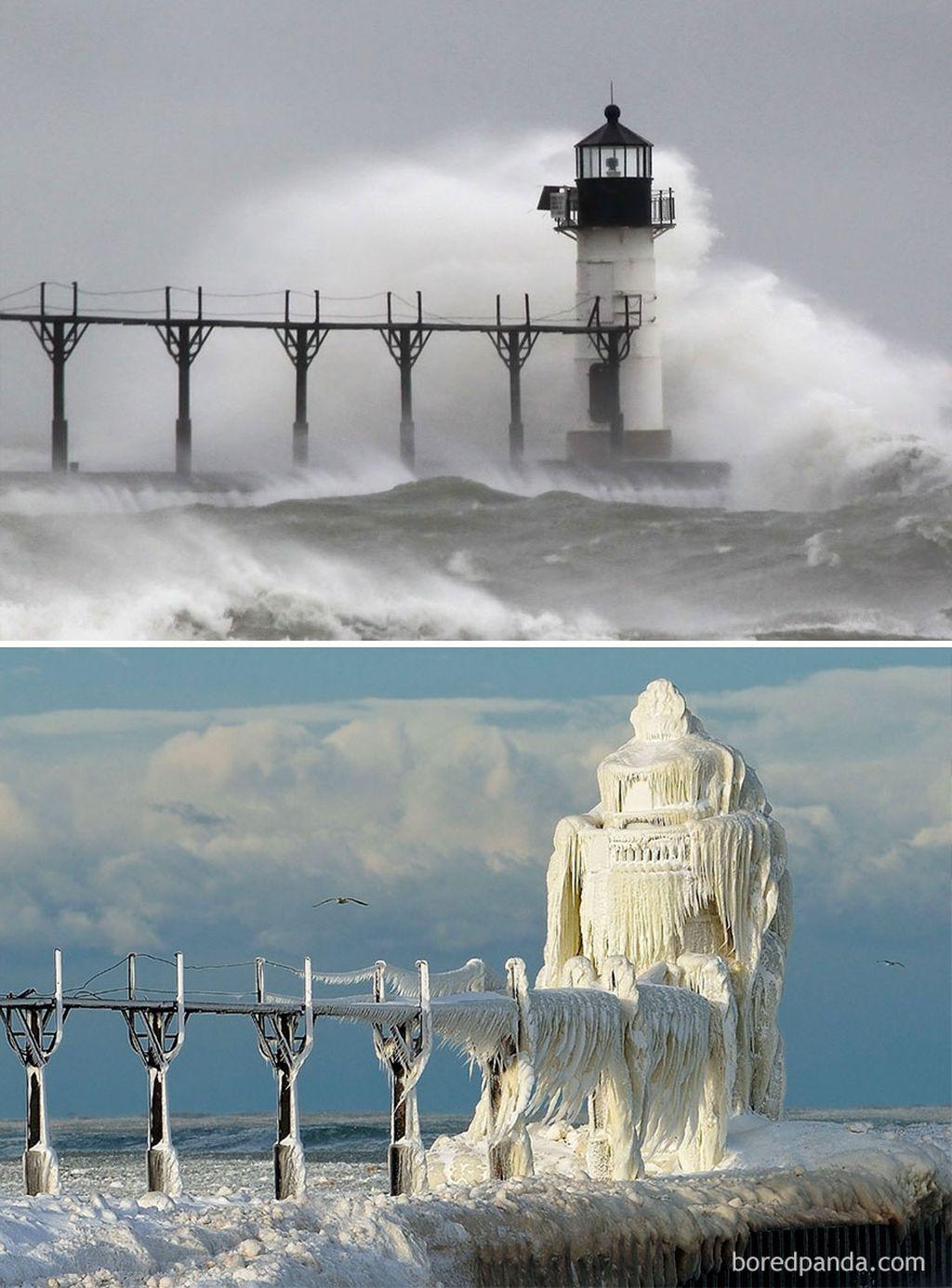 Foto mercusuar di Michigan, Amerika serikat yang dihantam ombak air. Namunsaat musim salju, air laut pun ikut menjadi beku. (Foto: Boredpanda)