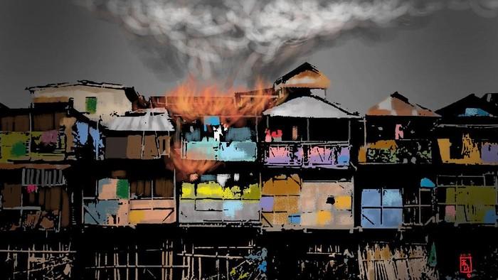 Ilustrasi Kebakaran Pemukiman Padat Penduduk