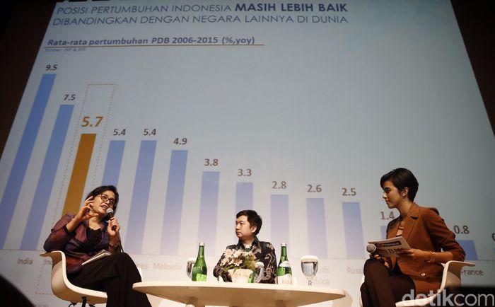 Menteri Keuangan Republik Indonesia Sri Mulyani bersama CEO Tokopedia William Tanuwijaya menjadi salah satu pembicara dalam acara dPreneur DetikFinance detikcom di Jakarta, Rabu (21/12/2016).