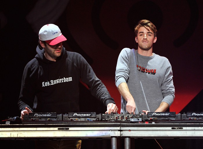 SAN JOSE, CA - DECEMBER 01:  Recording artists Alex Pall and Andrew Taggart of The Chainsmokers perform onstage at WiLD 94.9s FMs Jingle Ball 2016 presented by Capital One at SAP Center on December 1, 2016 in San Jose, California.  (Photo by Steve Jennings/Getty Images for iHeartMedia)