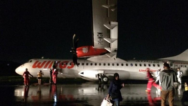 Wings Air yang Tergelincir di Bandara Semarang Alami Kerusakan Ban