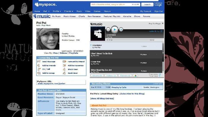 Tampilan Lawas MySpace. Foto: Istimewa