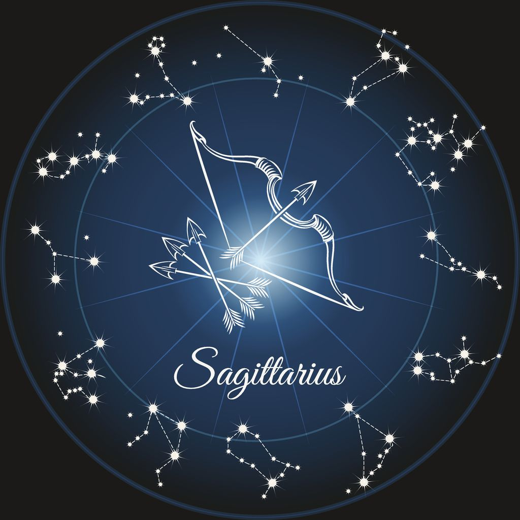 Zodiac sign sagittarius and circle constellations. Vector illustration