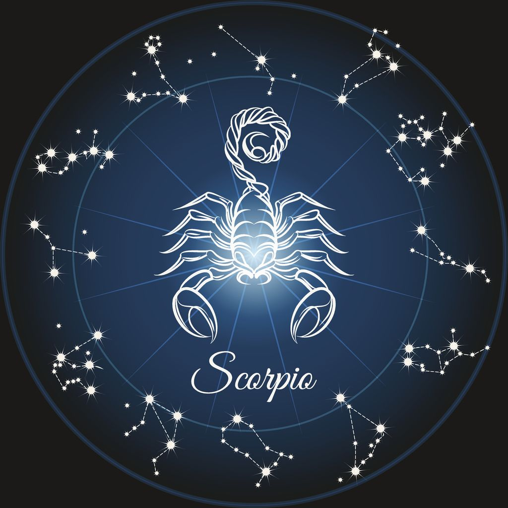 Zodiac sign scorpio and circle constellations. Vector illustration.