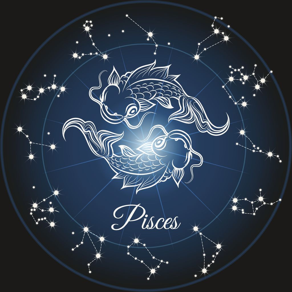 Zodiac sign pisces and circle constellations, Vector illustrattion