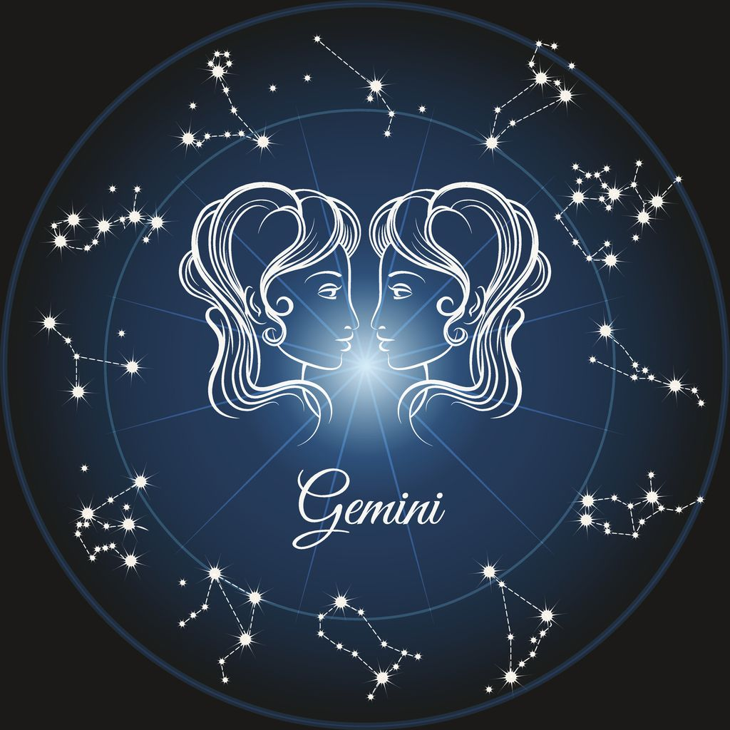 Zodiac sign gemini and circle constellations. Vector illustration